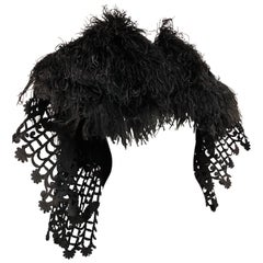 Victorian-Style Black Ostrich Feather & Tape-Lace Caplet