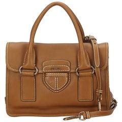 Prada Brown Leather Pattina Handbag