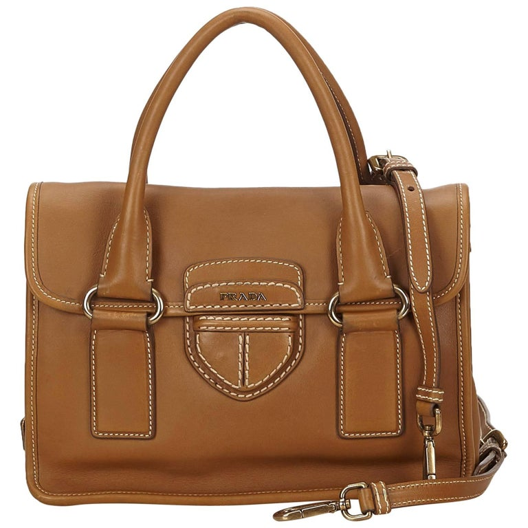 Prada Brown Leather Pattina Handbag
