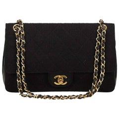 Chanel Black Classic Medium Cotton Double Flap Bag