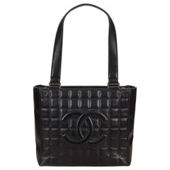 Chanel Black Choco Bar Leather Shoulder Bag