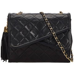 Chanel Black Matelasse Tassel Double Flap Bag