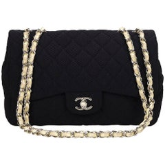 Chanel Black Jumbo Classic Cotton Flap Bag