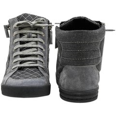 CHANEL Sneakers in Grey Denim and Suede Size 39.5FR