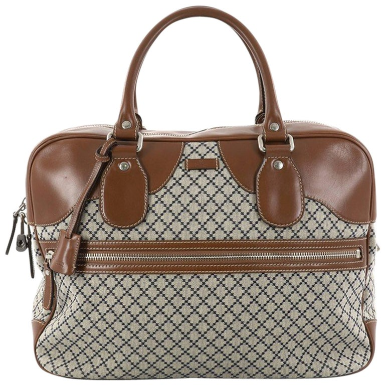 Gucci Zip Pocket Briefcase Diamante Canvas with Leather Large