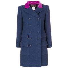 Chanel Blue Wool Vintage Coat, 2000s