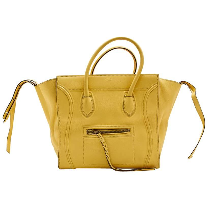 CELINE Luggage Bag in Yellow Grained Leather