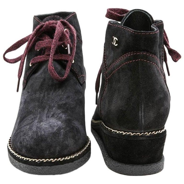 CHANEL Boots in Dark Purple Suede Size 37.5FR
