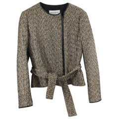 Yves Saint Laurent Golden Tweed Jacket with leather Size FFR 36