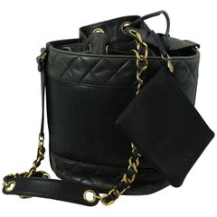 Chanel Vintage Green Bucket Bag with Pouch