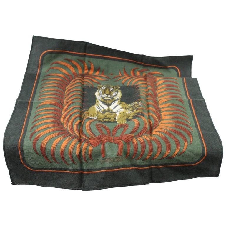 Hermes Vintage Tiger Cashmere Scarf 16.5 inches