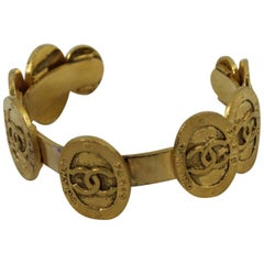 Chanel Vintage Logo Cuff in Gold Plated Metal