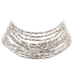 C.1980 Carolee Sterling Silver & Faux Pearl Choker Necklace