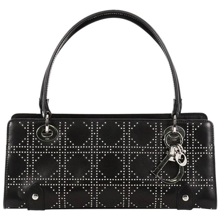 Christian Dior East West Lady Dior Handbag Cannage Studded Leather Small