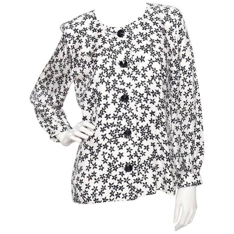 A 1980s Vintage Yves Saint Laurent Rive Gauche White Silk Blouse