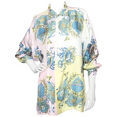 A 1980s Vintage Gianni Versace Renaissance Print Silk Shirt L