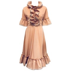 J.W. Anderson Blush Ruffled Prairie Day Dress With Leather Trim