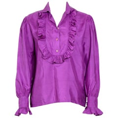 1970s YVES SAINT LAURENT Vintage Silk Ruffle Shirt
