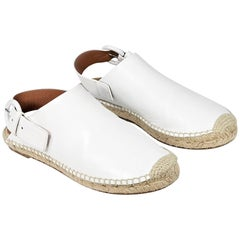 Celine White Leather Flat Espadrilles