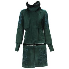 Tom Ford for Gucci Forest Green Suede Embroidered Fur Collar Coat It 42 US 6