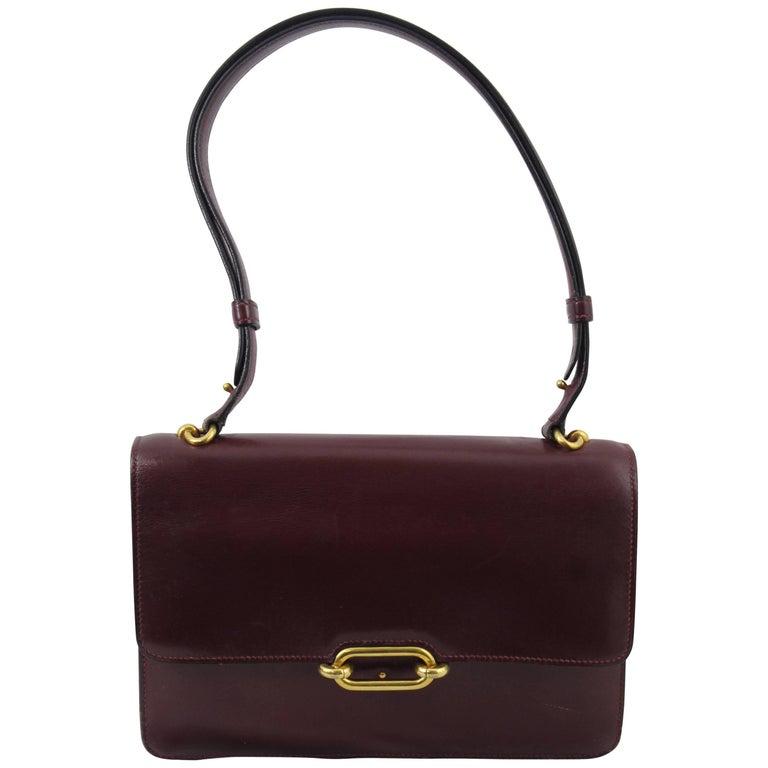 Hermes Vintage Bag Fontbelle Burgundy Box leather, 1960s