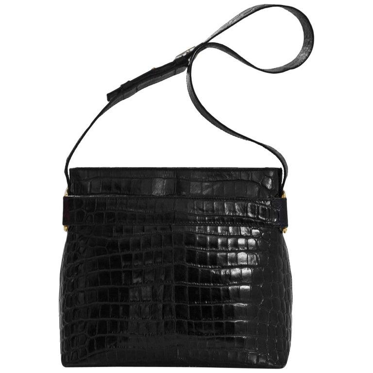 3609ac2a07 Salvatore Ferragamo Black Embossed Croc Shoulder Bag For Sale at 1stdibs