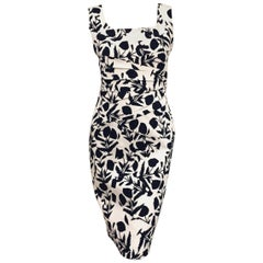 Oscar de la Renta Blue and White Floral Pique Sleeveless Dress Size 8 US