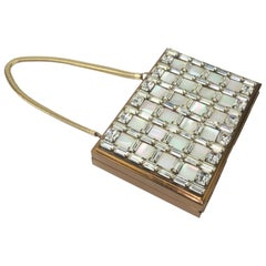 1950's Wiesner of Miami Rhinestone and Mother-of-Pearl Compact Handbag