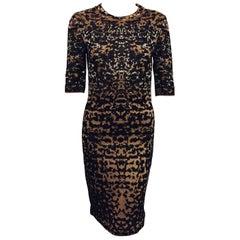 Marvelous Missoni Leopard Ombre Metallic Print Dress with Round Collar