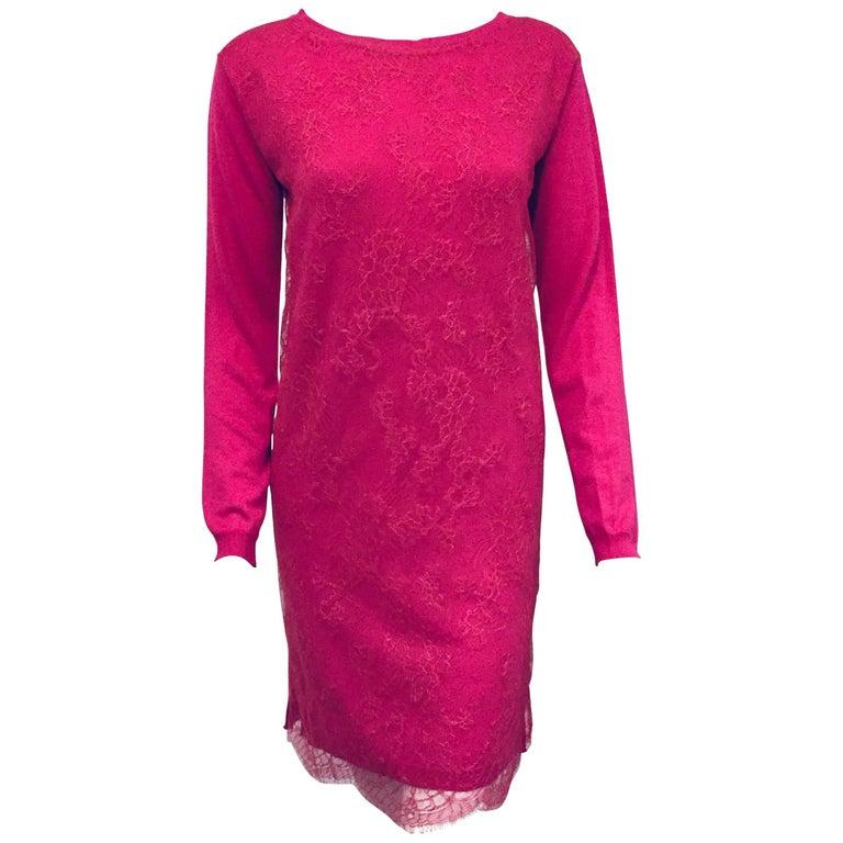 Vibrant Valentino Fuschia Lace and Cashmere Sweater Dress
