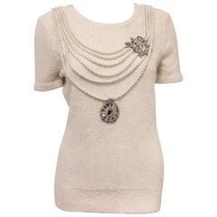 Outrageous Oscar de la Renta White Silk & Cotton Top with Pearls & Crystals Top