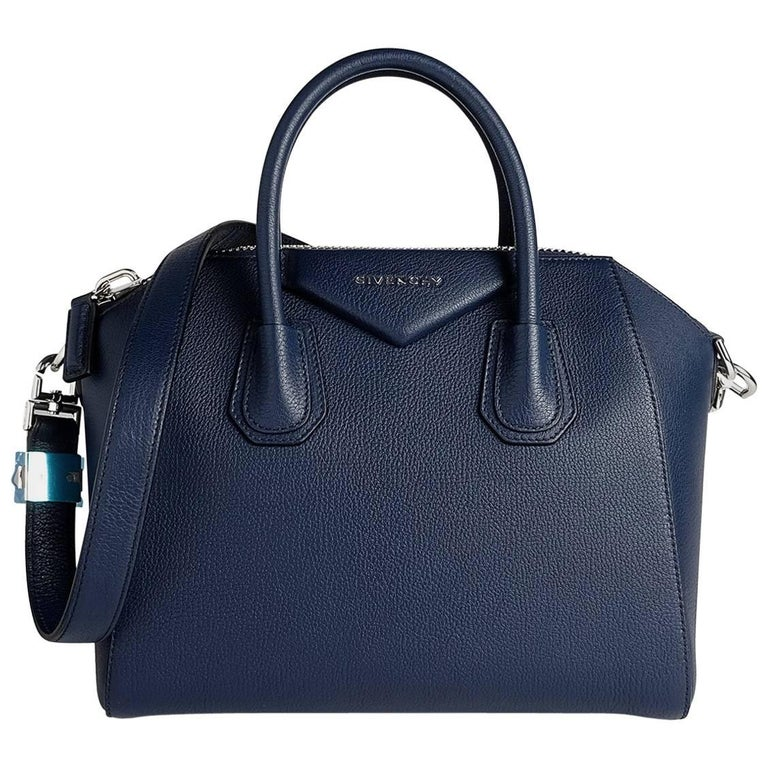 Givenchy Small Blue Leather Antigona with Silver Hardware, 2017