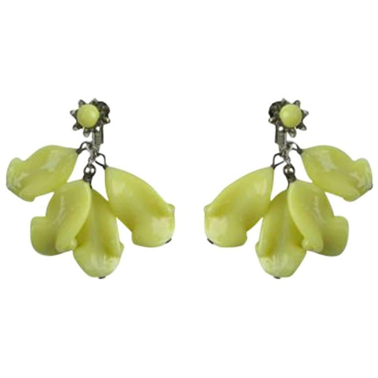 Miriam Haskell Glass Earrings For Sale
