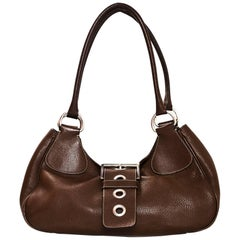 Prada Brown Leather Buckle Bag