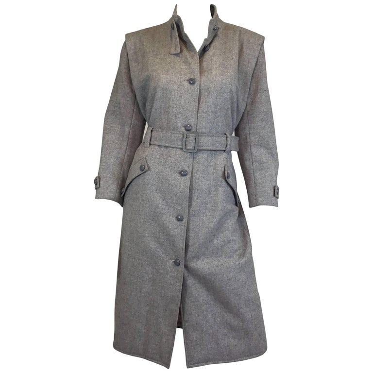 Courreges Gray Wool Belted Vintage Coat