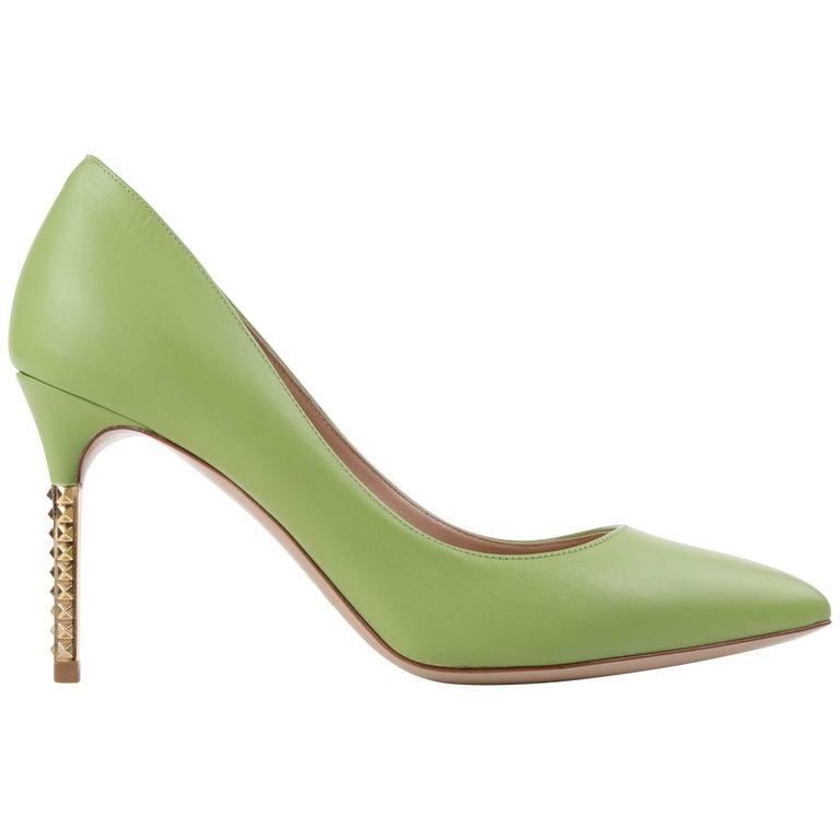 "VALENTINO Garavani Green Apple Leather Gold ""Rockstud"" Heel Pointed Toe Pumps"