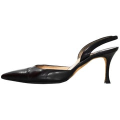 Manolo Blahnik Black Slingback Pumps Sz 36
