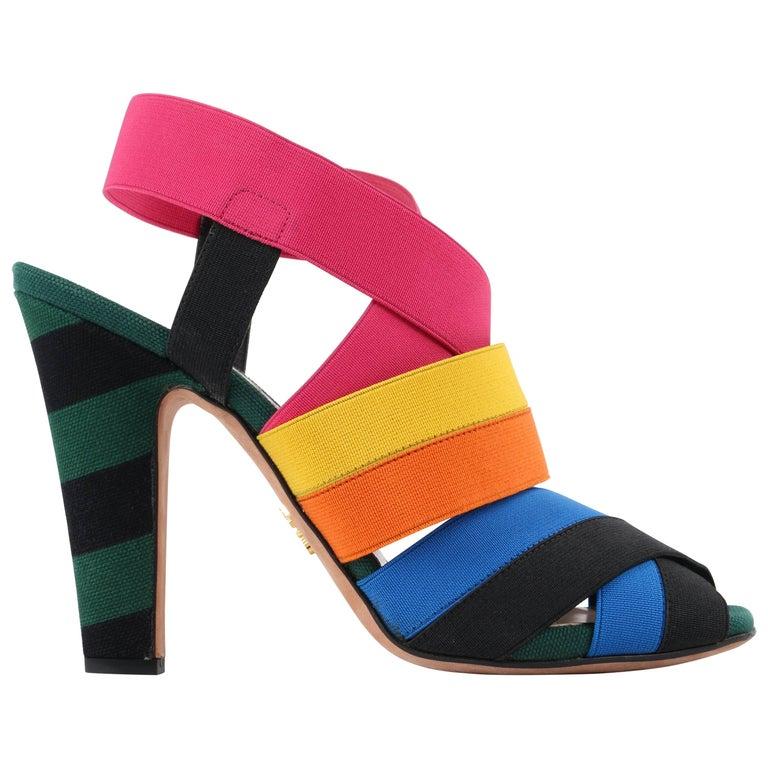 PRADA S/S 2011 Rainbow Multicolor Elastic Comfort Fit Open Toe Sandals Heels