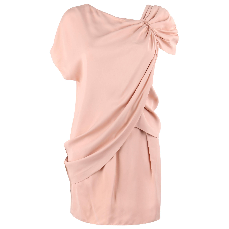 PRADA Resort 2010 Blush Pink Silk Asymmetrical Draped Shift Cocktail Dress