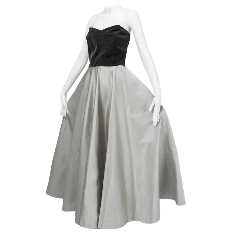 Parisian Colorblock Strapless Ball Gown 1950s For Sale