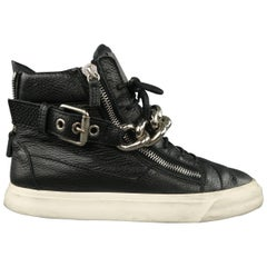 GIUSEPPE ZANOTTI Sneakers 10 Black Textured Leather Silver Chain Bangle High Top