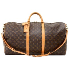 Louis Vuitton Vintage Keepall 60 Bandouliere Monogram Canvas Duffel Travel Bag
