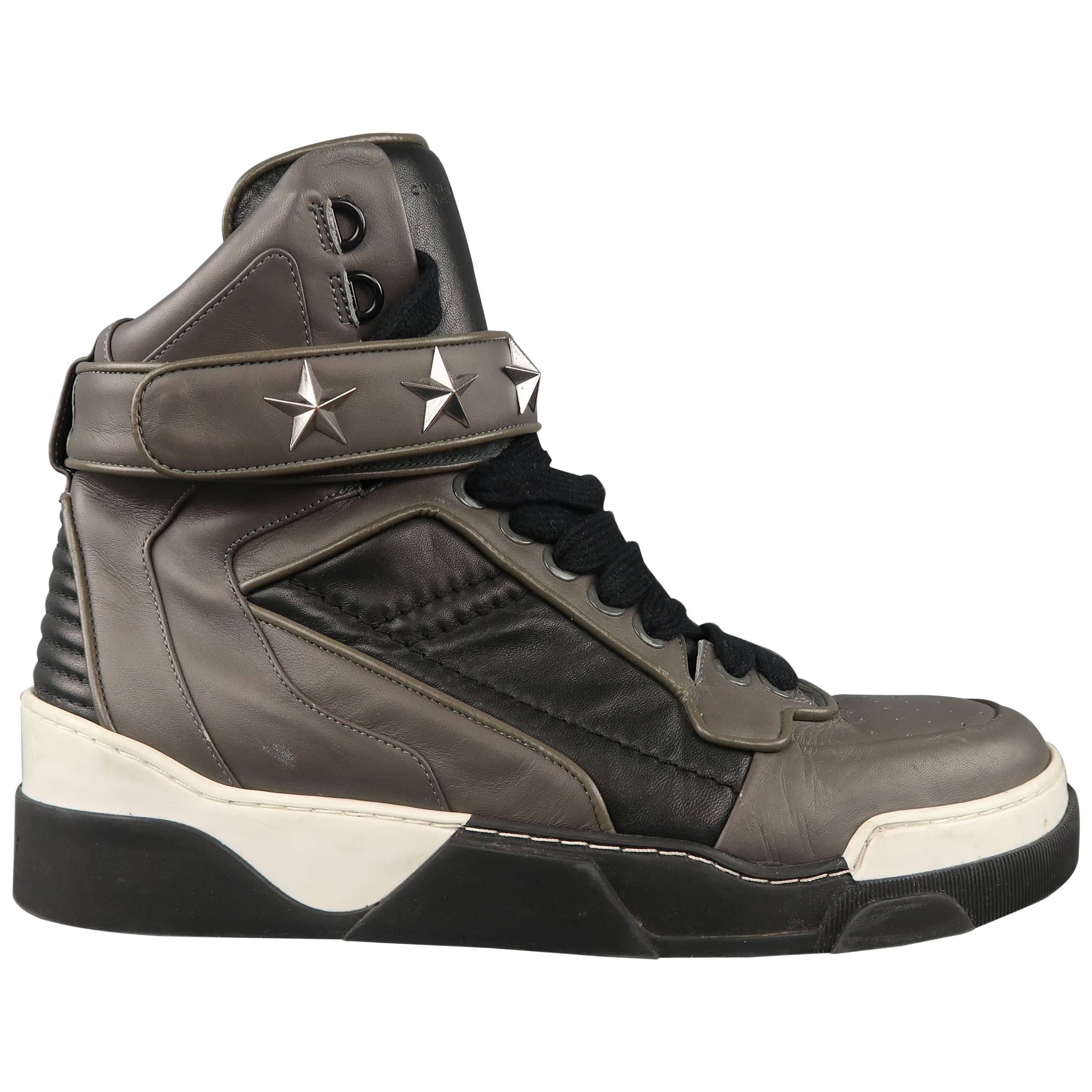 Men s GIVENCHY Sneakers - Size 11 Grey and Black Leather Star Strap Tyson  High Top at 1stdibs 32a1997daf