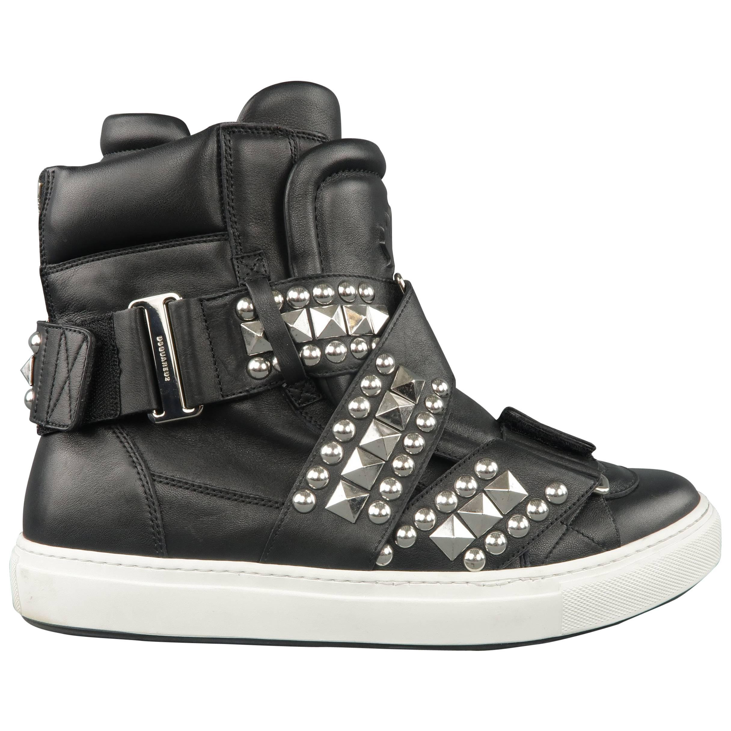 ad25f914e7f5 GIUSEPPE ZANOTTI Sneakers 10 Black Textured Leather Silver Chain Bangle High  Top at 1stdibs