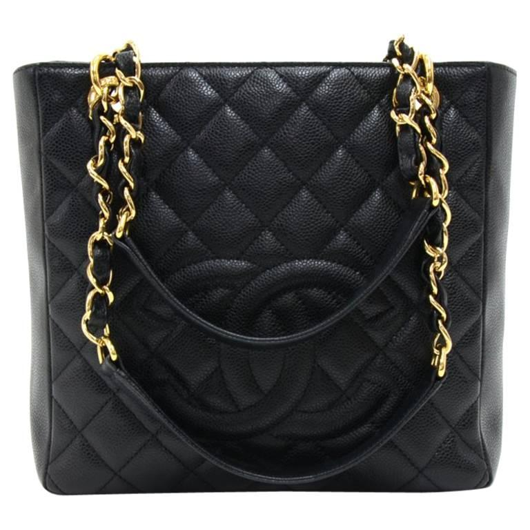 Chanel Petite Shopper Tote (PST) Black Quilted Caviar Leather Tote Bag For Sale