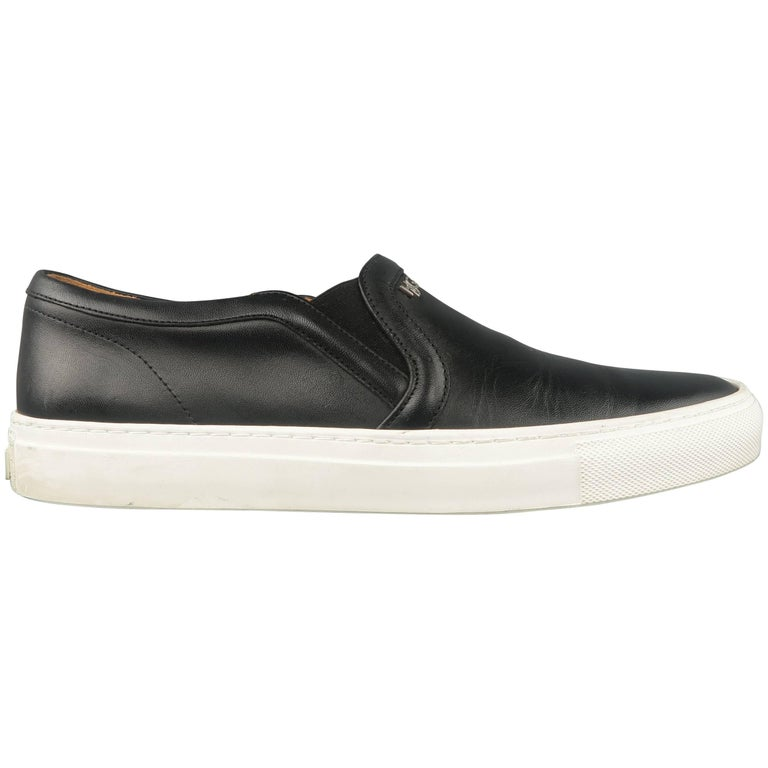 Men's GIVENCHY Size 8 Black Leather HSG Slip On Sneakers