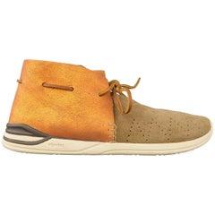 Men's VISVIM Size 9.5 Orange Metallic Leave & Taupe Suede Huron Boot Sneakers