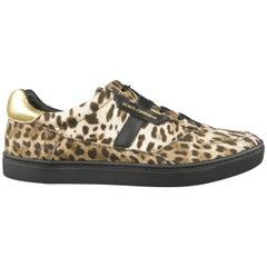 Men's DOLCE & GABBANA Size 11 Beige & Black Leopard Print Canvas Sneakers