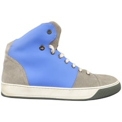 Men's LANVIN Size 8 Grey Suede & Blue Rubber Two Toned High Top Sneakers