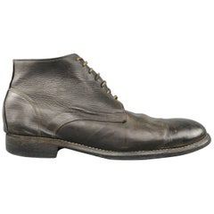 Men's GUIDI Size 12 Black Distressed Donkey Leather Desert Boots